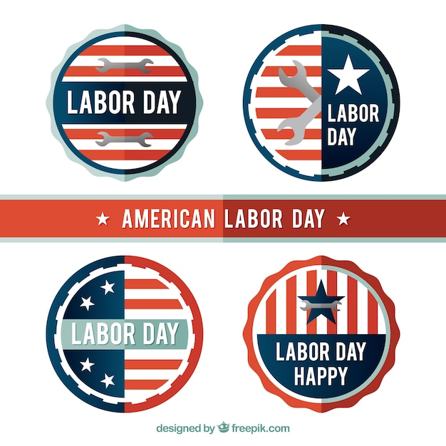 Pack of american retro labor day\ stickers