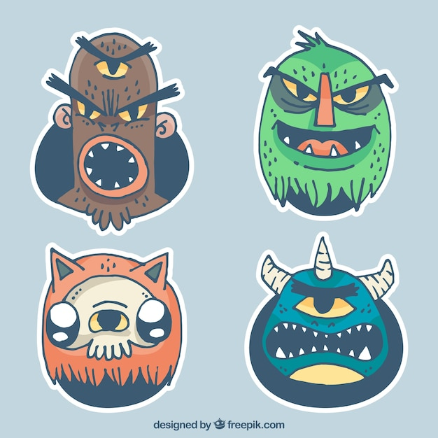 Pack of angry monster characters