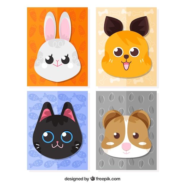 Пакет карточек животных с красивыми лицами Бесплатные векторы