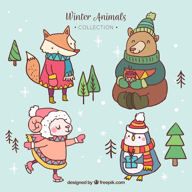 Pack of animals with hand-drawn winter\ clothes