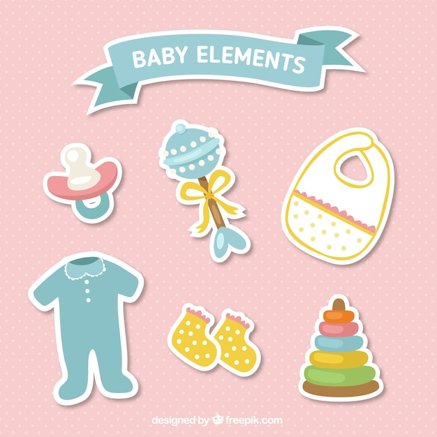 Pack of baby items stickers Vector | Free Download