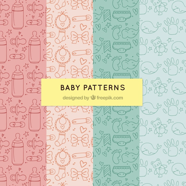 Pack of baby patterns Free Vector