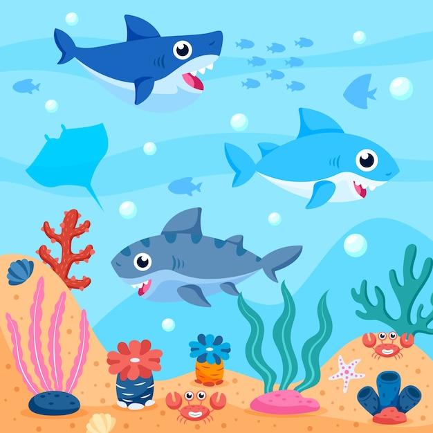 Стая маленьких акул в океане Premium векторы