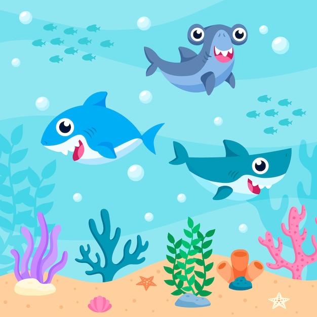 Стая маленьких акул в океане Бесплатные векторы