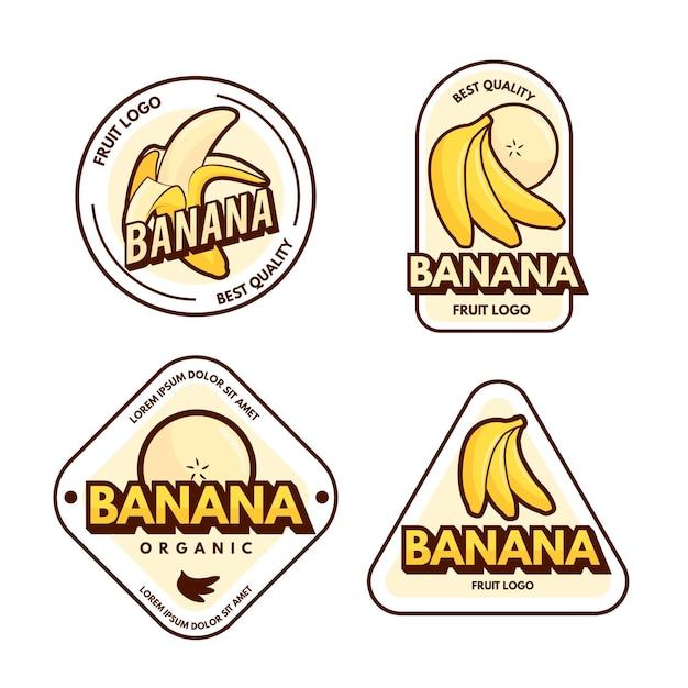 バナナのロゴテンプレートのパック 無料ベクター