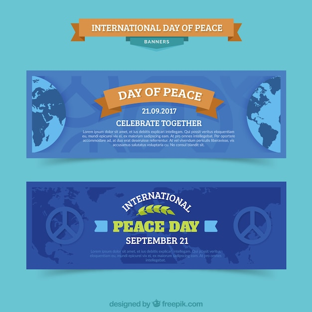 Pack of banners for international day of peace