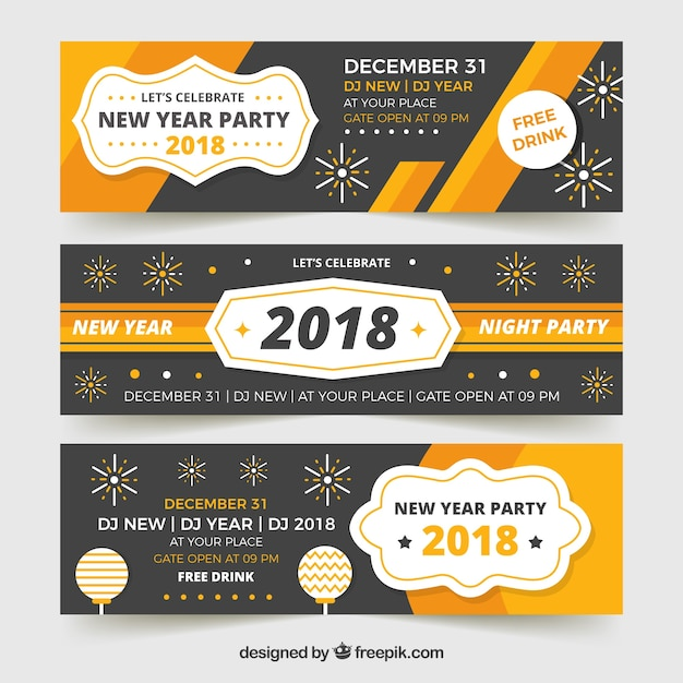 Pack of banners vintage 2018 in flat design