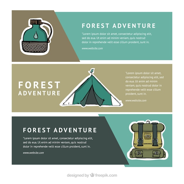 Pack of banners with camping objects