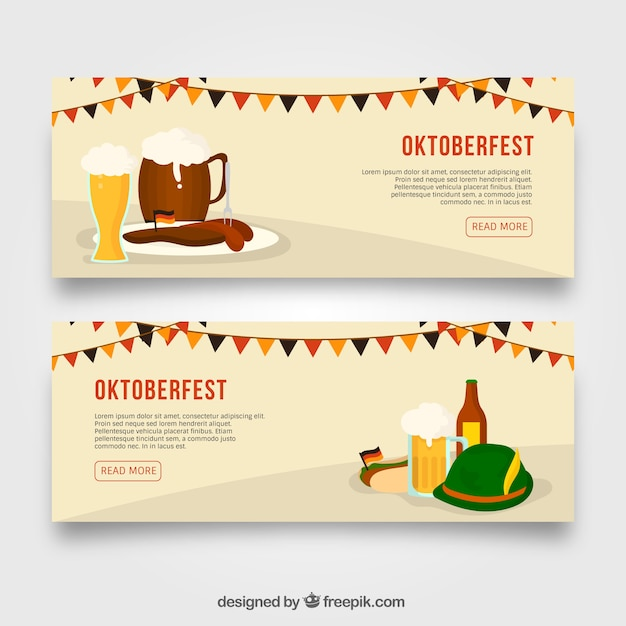 Pack of banners with traditional oktoberfest elements