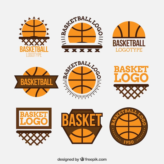 pack of basketball logos in flat design vector free download