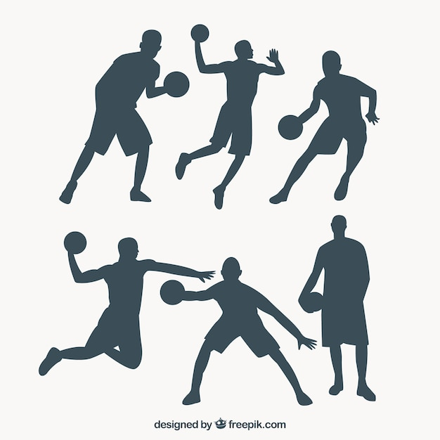 Pack of basketball players silhouettes Vector | Free Download