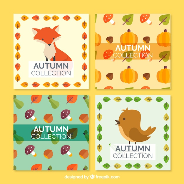 Pack of beautiful autumn cards with animals and\ nature