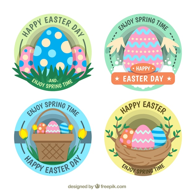 Pack Of Beautiful Easter Egg Stickers Free Vector
