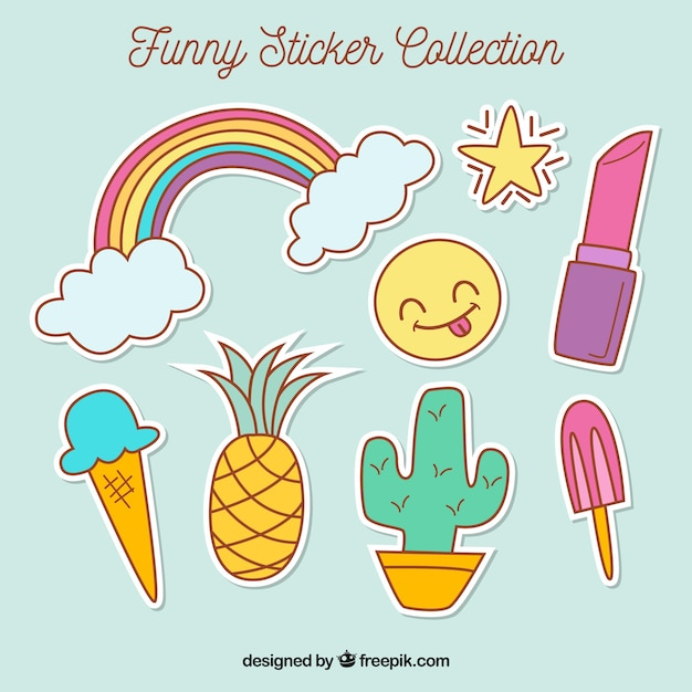 Pack of beautiful hand drawn stickers