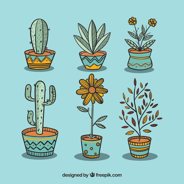 Pack of beautiful plants and flowerpots Free Vector
