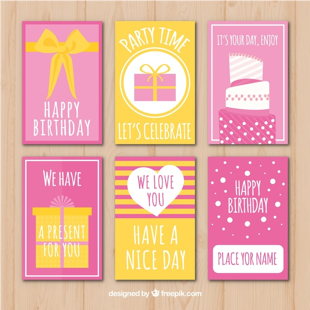Pack of beautiful retro birthday cards