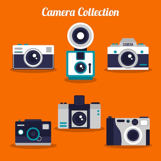 Pack of beautiful retro cameras in flat design