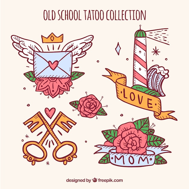 Pack of beautiful retro hand drawn tattoos