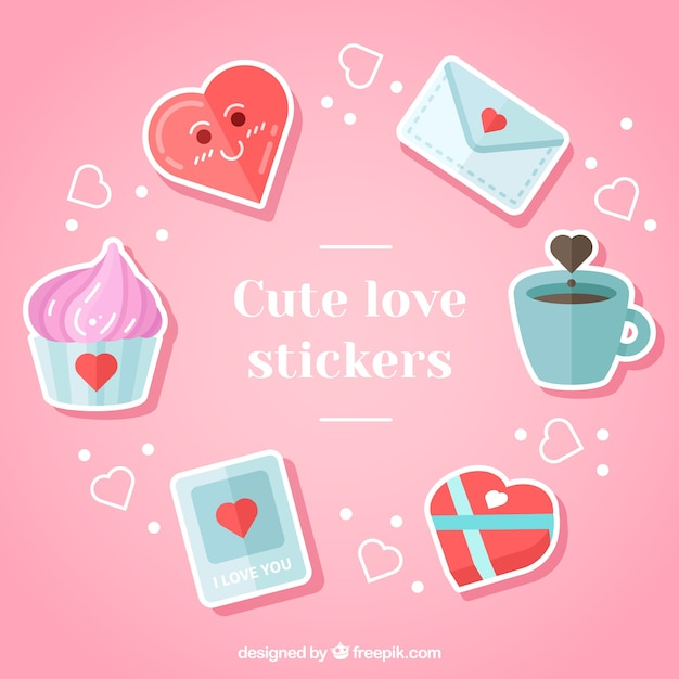 Pack Of Beautiful Romantic Stickers Free Vector