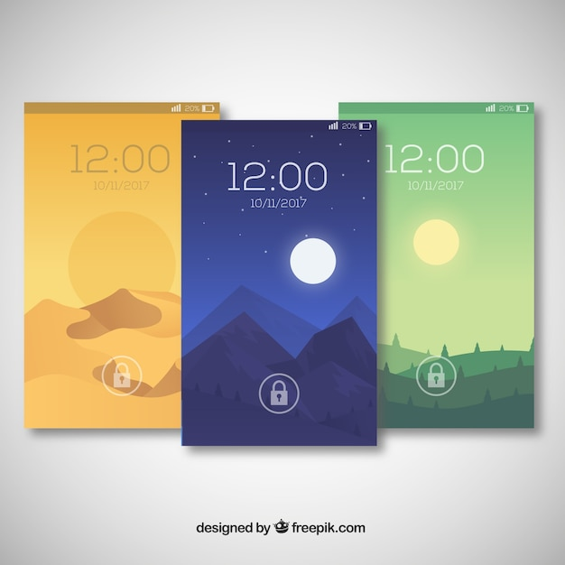 Pack Of Beautiful Scenery Wallpapers For Mobile Free Vector