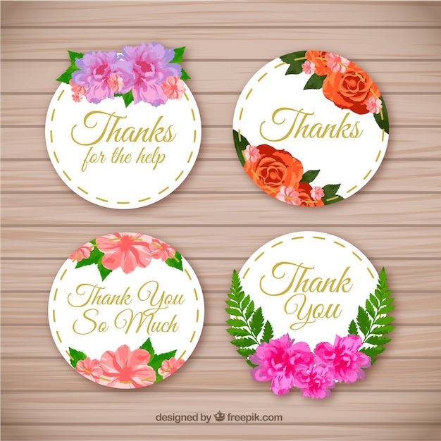 Pack Of Beautiful Thank You Stickers With Flowers Free Vector