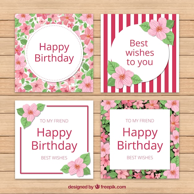 Pack Of Beautiful Vintage Floral Birthday Cards Free Vector