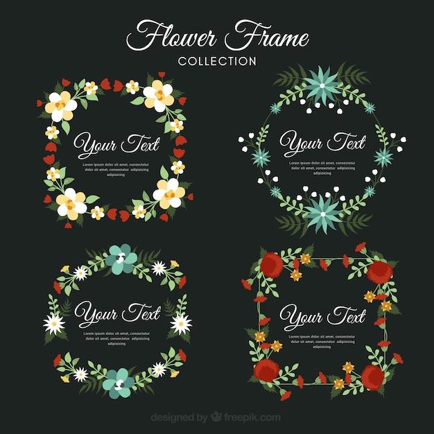Pack of beautiful vintage flower frames