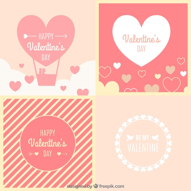Pack of beautiful vintage valentine cards Vector – Beautiful Valentines Cards