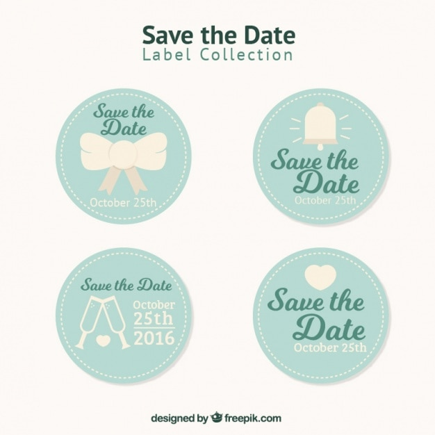 Pack Of Beautiful Vintage Wedding Stickers Free Vector