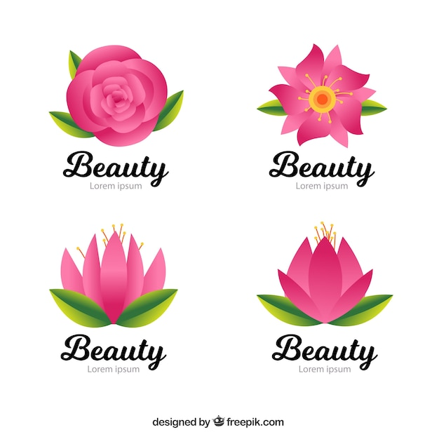 Favoritos Pack of beauty logos with pink flowers Vector | Free Download VT21