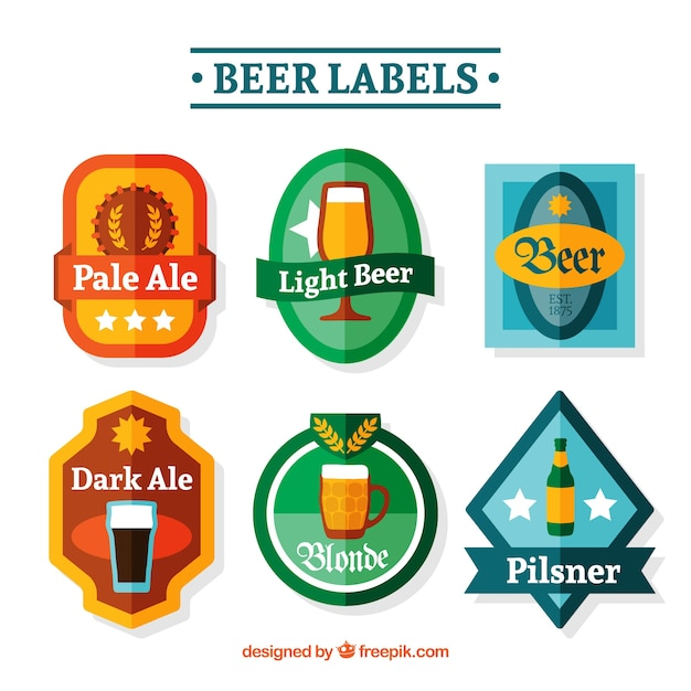 Pack of beer stickers in flat design Free Vector