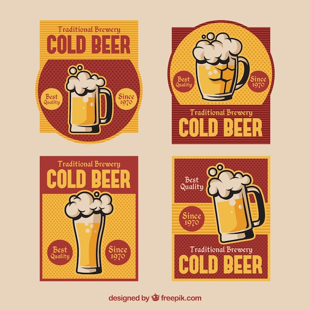 Pack of beer stickers in retro style Free Vector