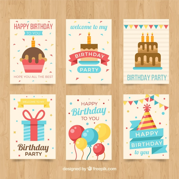 Pack of birthday cards in flat design vector free download pack of birthday cards in flat design free vector bookmarktalkfo Gallery