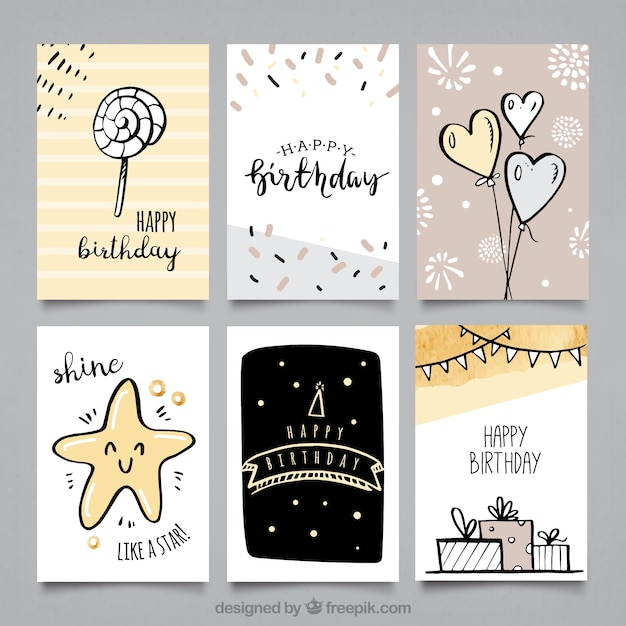 Pack of birthday cards with cute drawings Vector – Packs of Birthday Cards