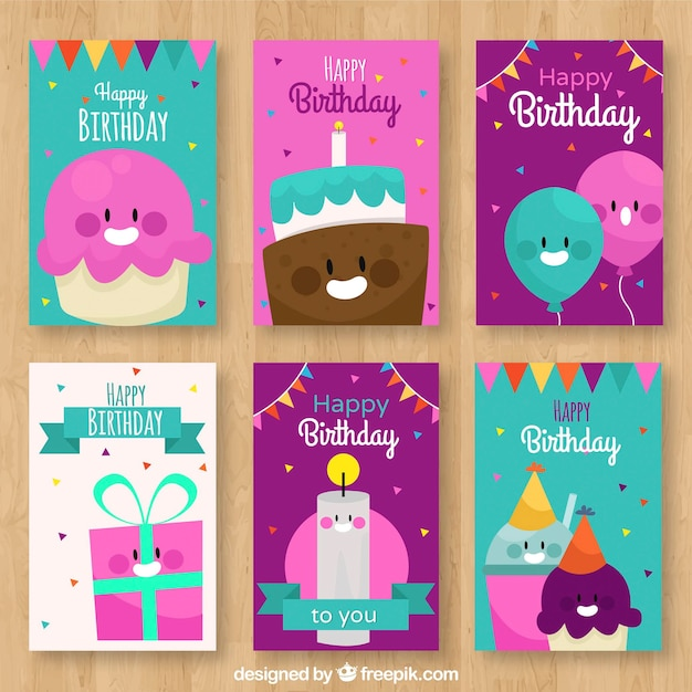 Pack of birthday cards with nice characters Free Vector