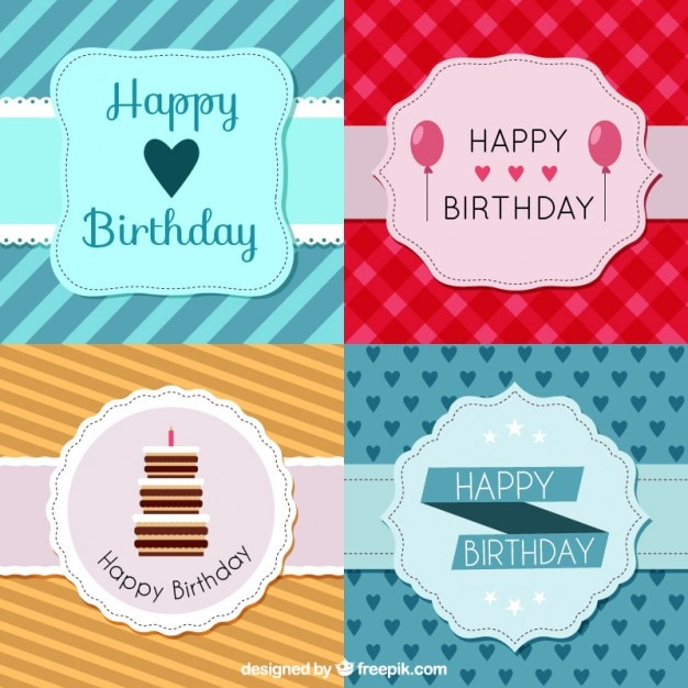 Pack of birthday cards with vintage badge vector free download pack of birthday cards with vintage badge free vector bookmarktalkfo Gallery