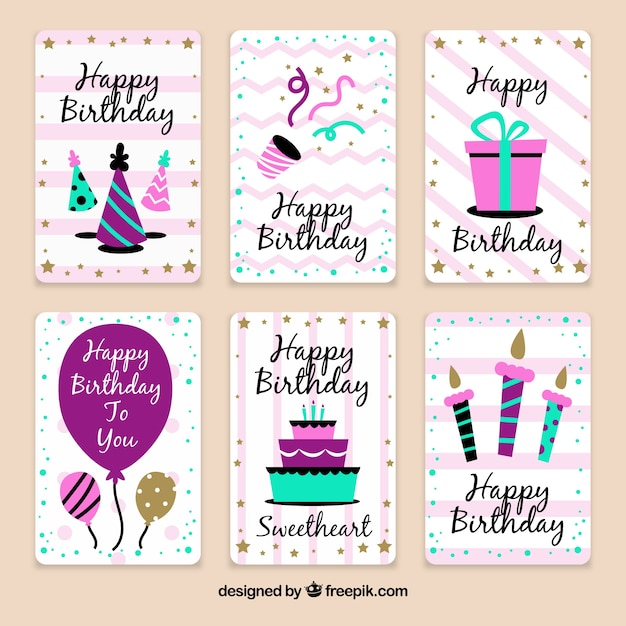 Pack of birthday celebration cards in vintage style Vector – Birthday Celebration Cards