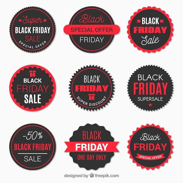 Pack of black friday round stickers