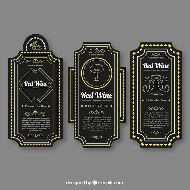 Pack of black wine labels with color\ details