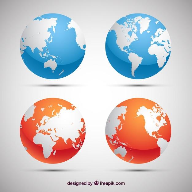 青とオレンジの地球の球のパック Premiumベクター