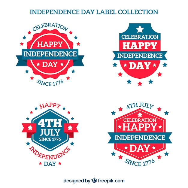 Pack of blue and red stickers for independence day