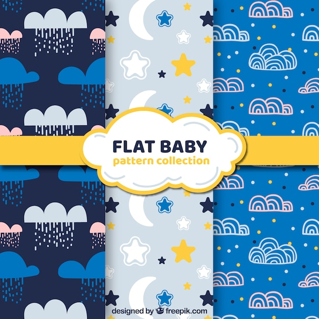 Pack of blue and white baby patterns Free Vector
