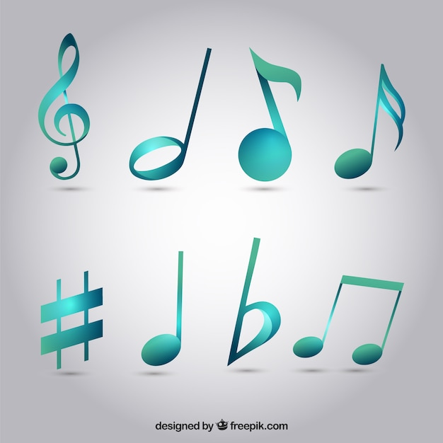 Pack of blue musical notes Free Vector
