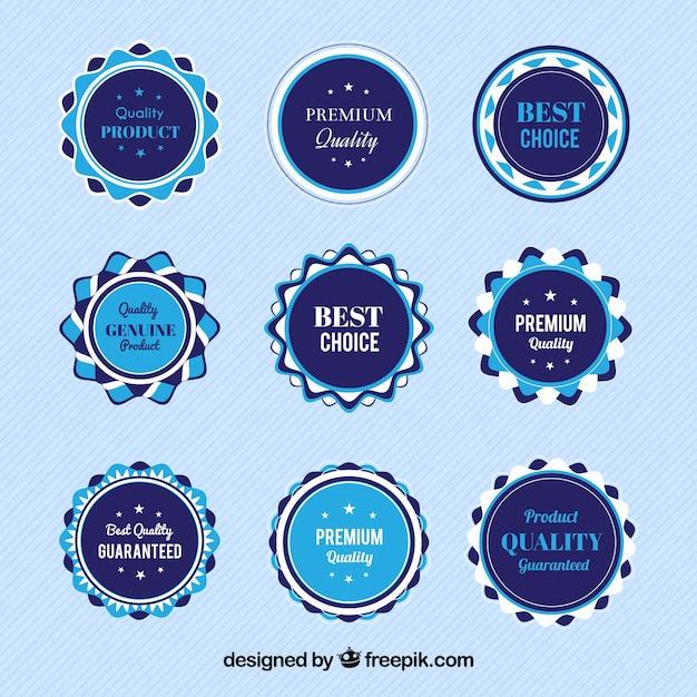 Pack of blue vintage premium stickers