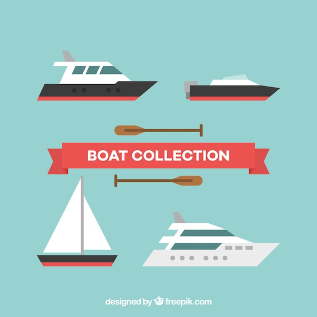 Pack of boats with variety of designs