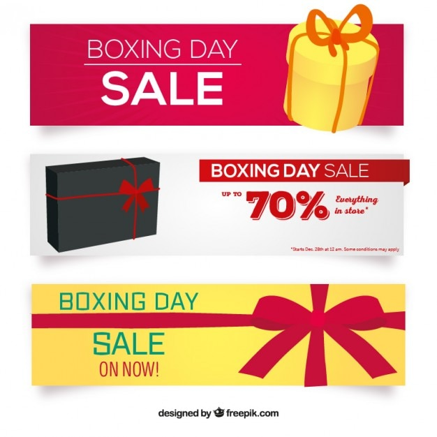 Pack Of Boxing Day Sale Banners Free Vector