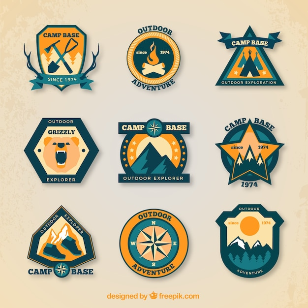 Pack of camping badges