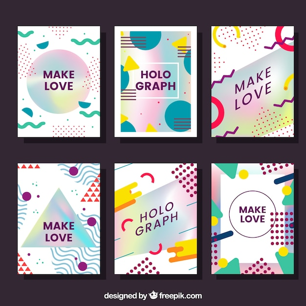 Pack of cards with abstract shapes and holographic effect