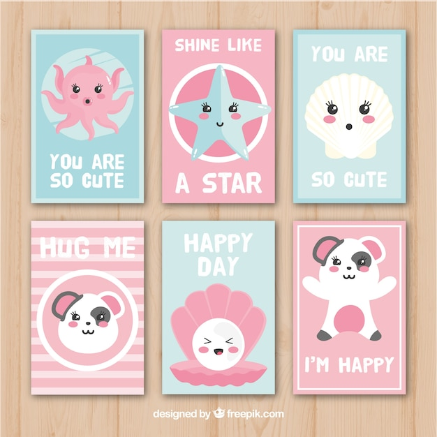 Pack of cards with adorable characters