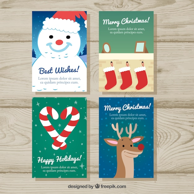 Pack of cards with ornaments and lovely christmas characters